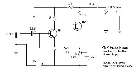 Fuzz face schematic from the Q2 collector for