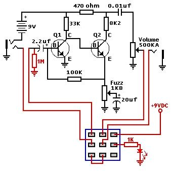 Fuzz face schematic from the usual 2N3904, 2N5088